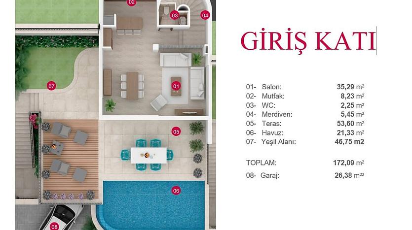 Bodrum Villa kat planı